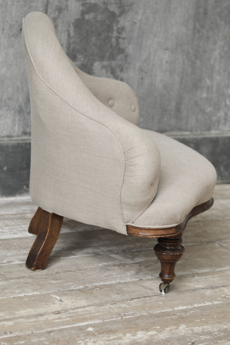 ENGLISH REUPHOLSTERED BUTTON BACK CHAIR