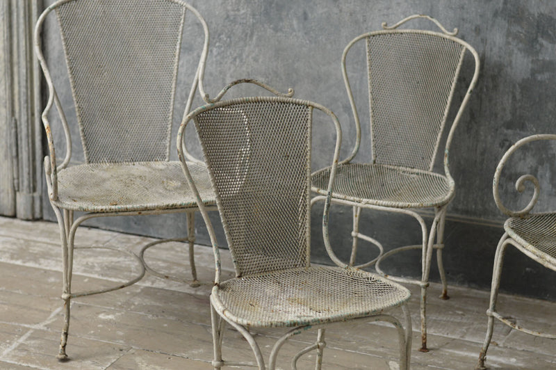 A set of French solid iron garden chairs 1920's