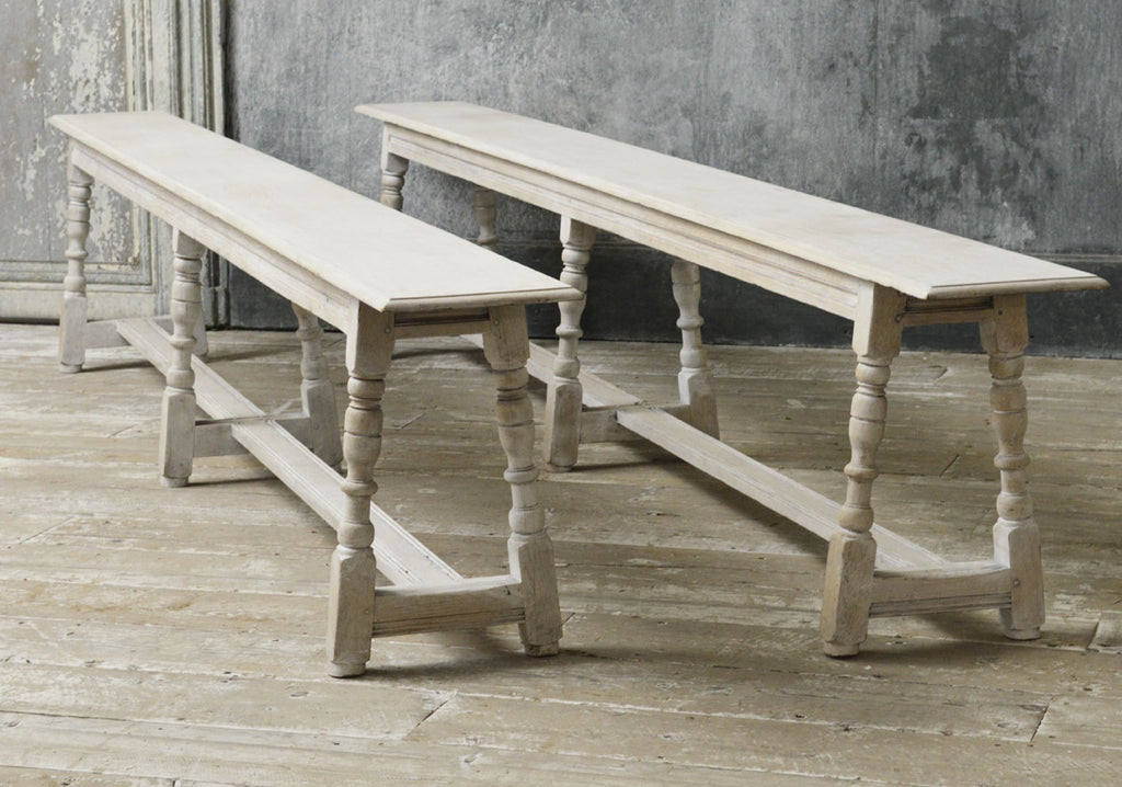Pair of 19th Century French painted oak benches