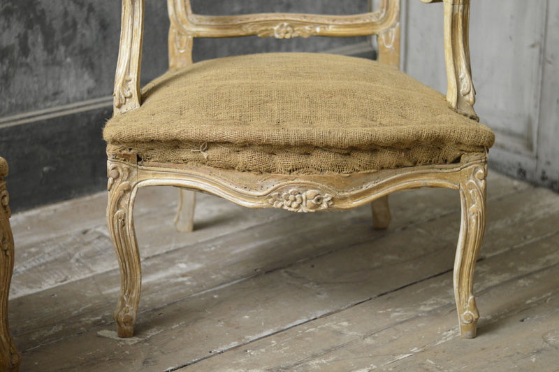 Pair of French Rococo style 19th Century carved salon chairs