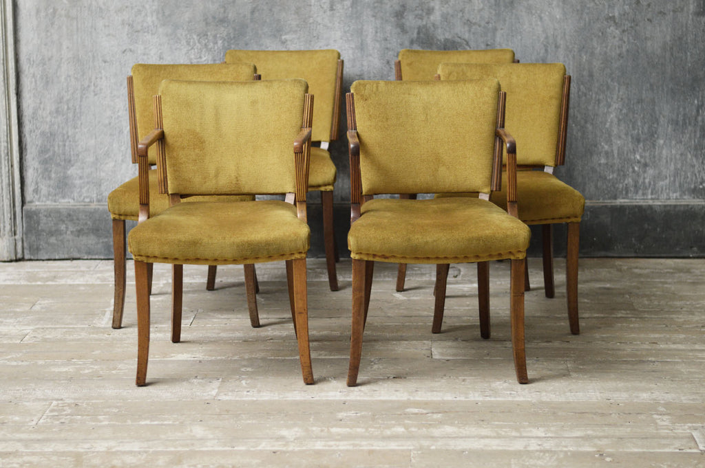 A set of six walnut Art Deco dinning chairs