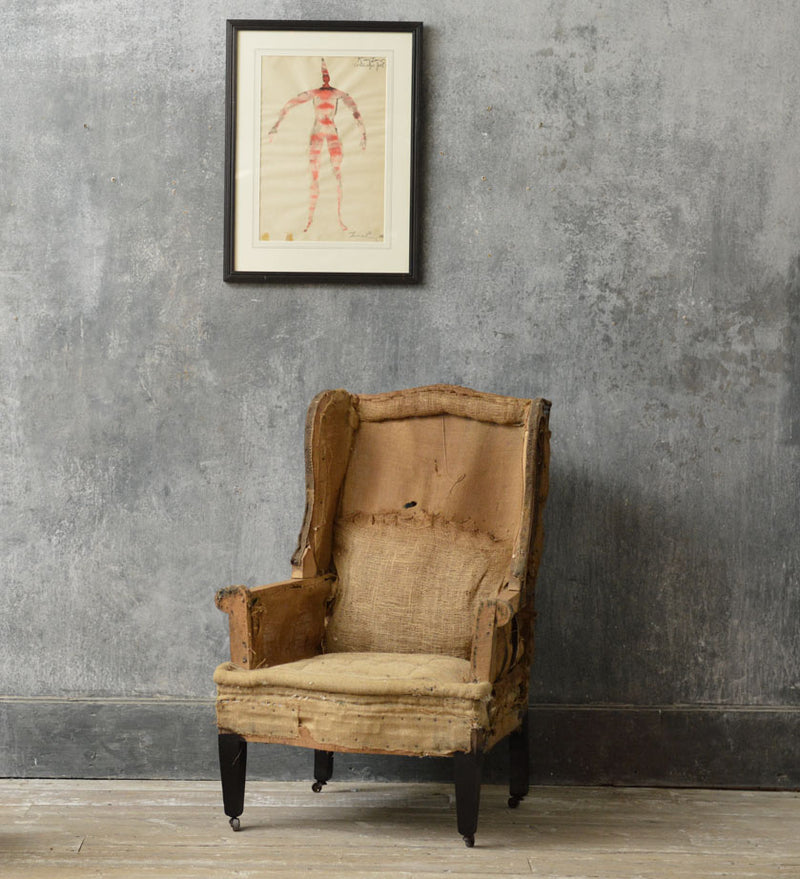 English 19th Century wing chair.