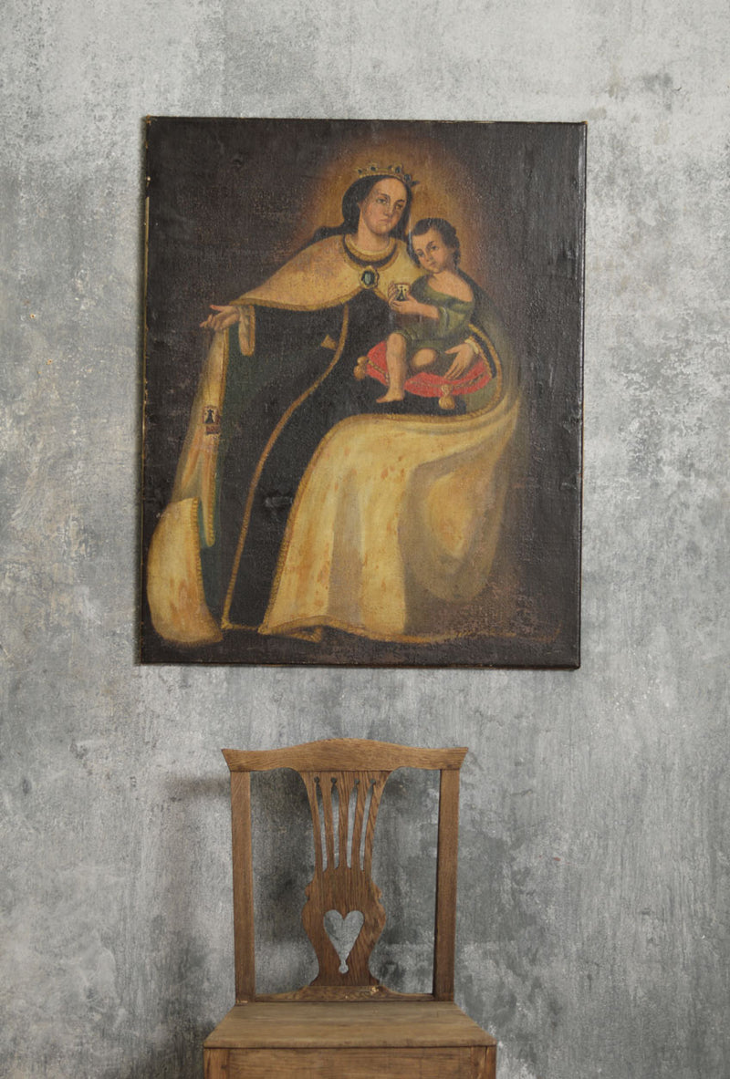 OIL ON CANVAS MOTHER AND CHILD