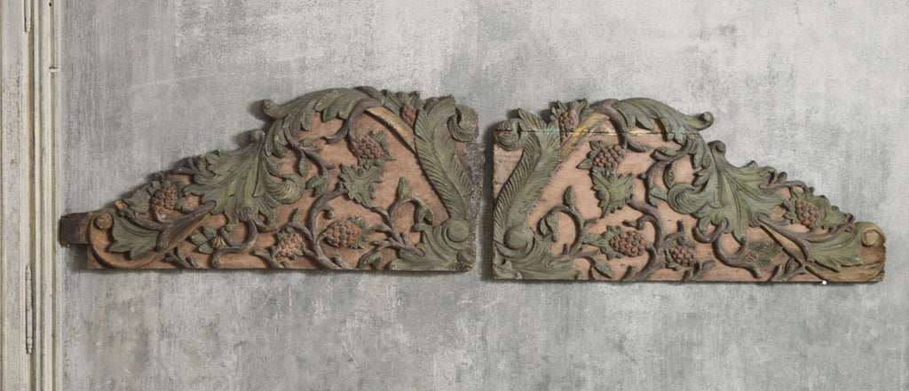 PAIR OF TEAK CARVED PANELS