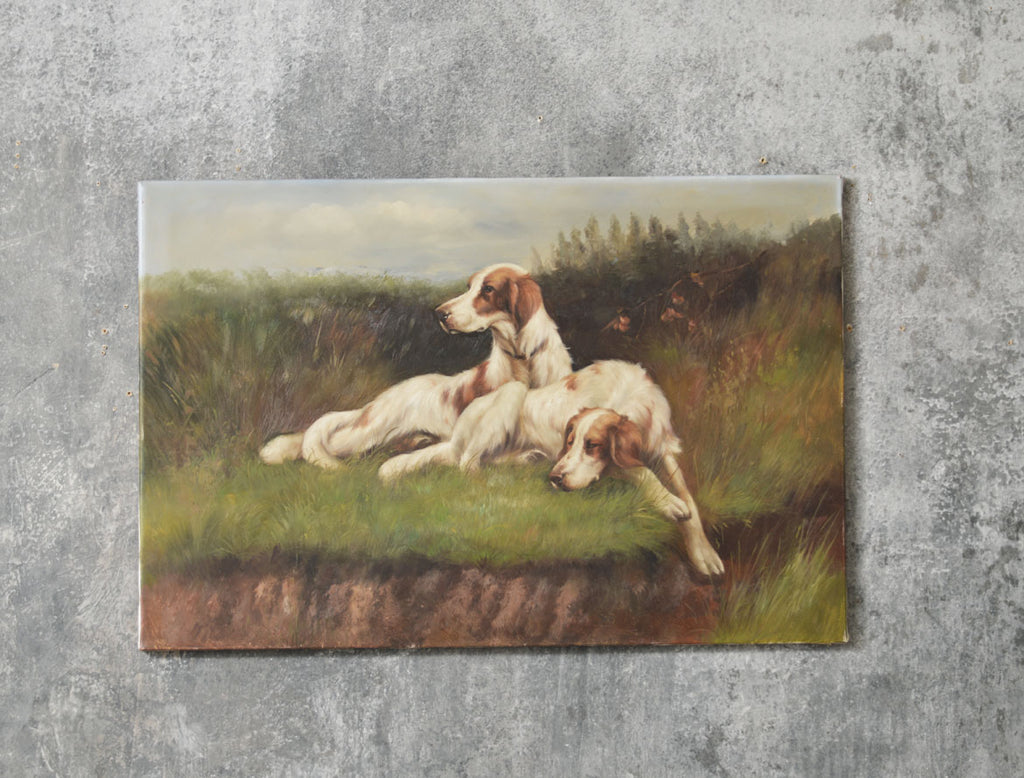 20TH CENTURY OIL ON CANVAS OF ENGLISH SETTERS