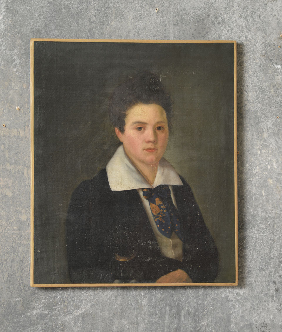 FRENCH 19TH CENTURY PORTRAIT OF A GIRL SCHOLAR