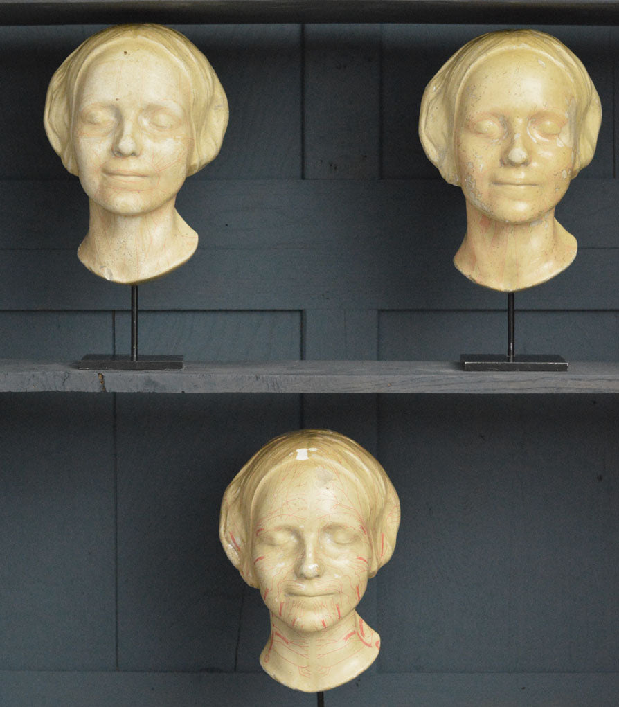 A set of three French life size busts, 19th Century of the Girl of the Siene