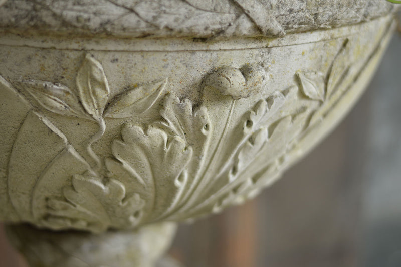ENGLISH STONE URN ON PLINTH