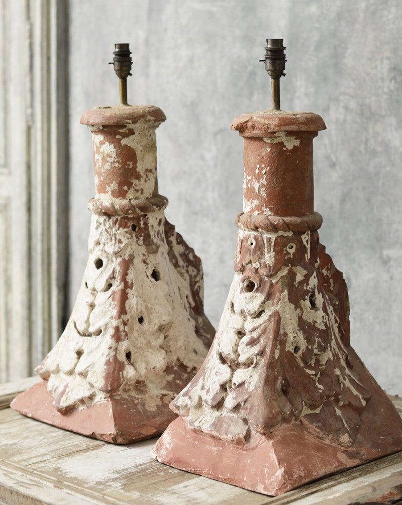 A pair of English 19th Century terracotta table lamps