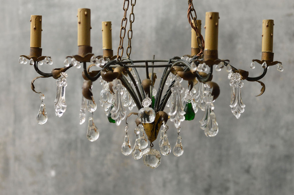 GILDED CHANDELIER WITH GREEN CRYSTAL DROPS