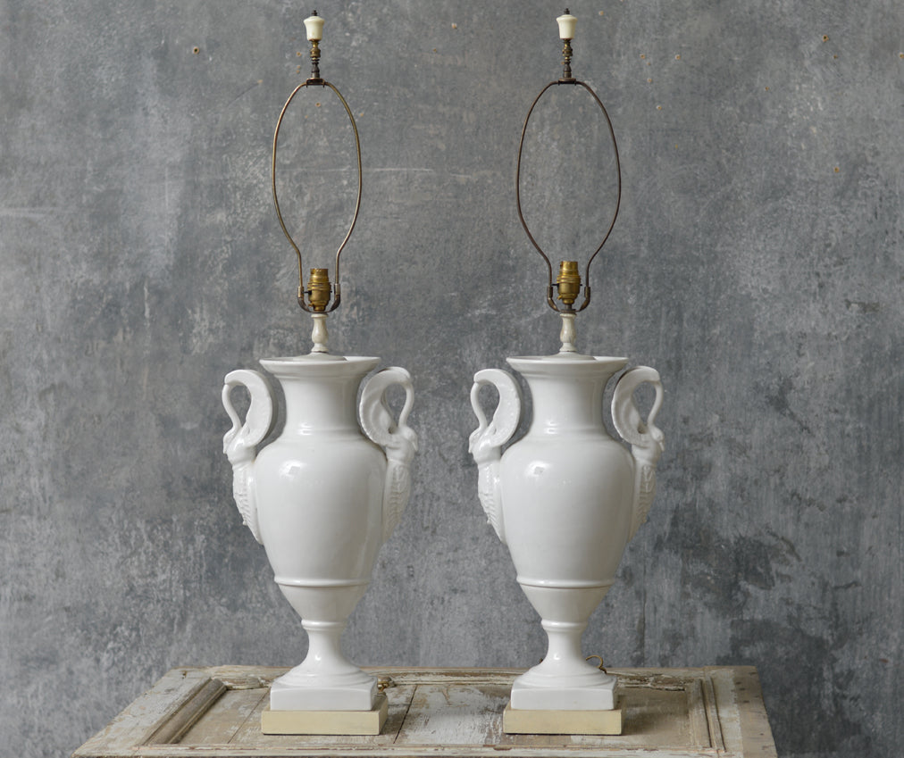 Pair of French table lamps from Limoges