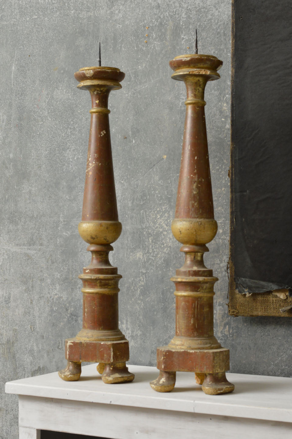 Pair of French 18th Century Altar candle prickets