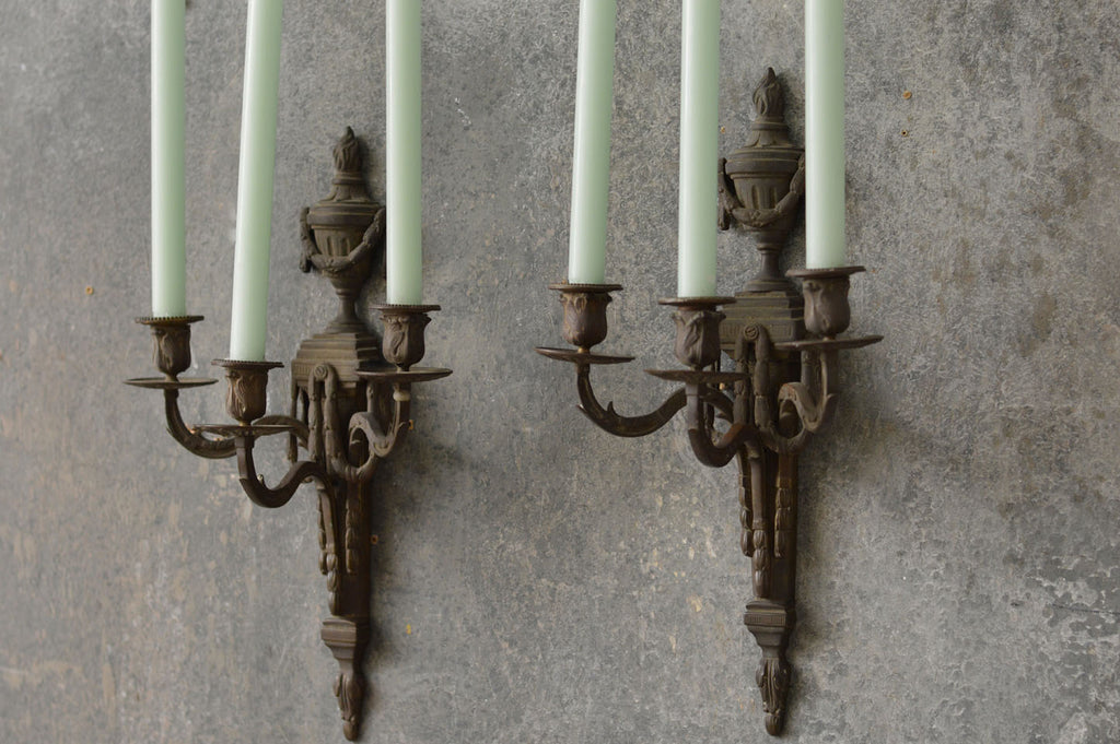 Pair of Regency bronze wall sconces