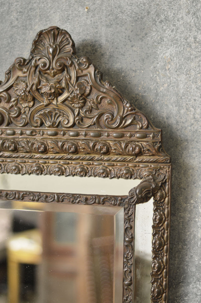 FRENCH 19TH CENTURY PRESSED TIN CUSHION MIRROR