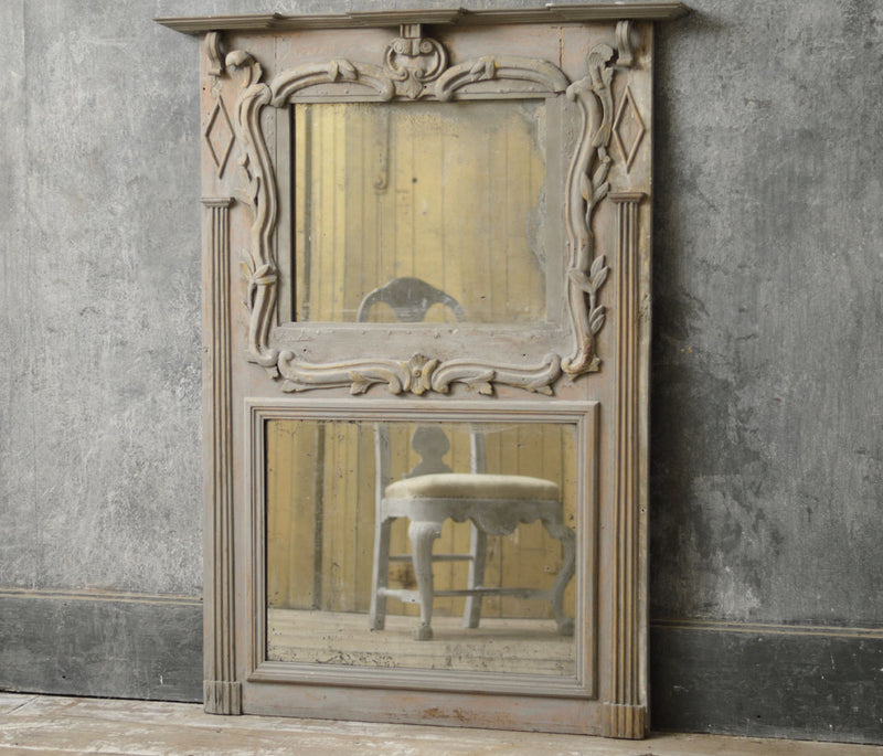French 19th Century carved wood overmantel mirror