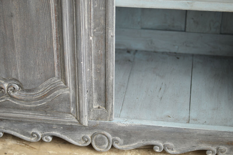 FRENCH 18TH CENTURY PAINTED CHERRY WOOD ARMOIRE
