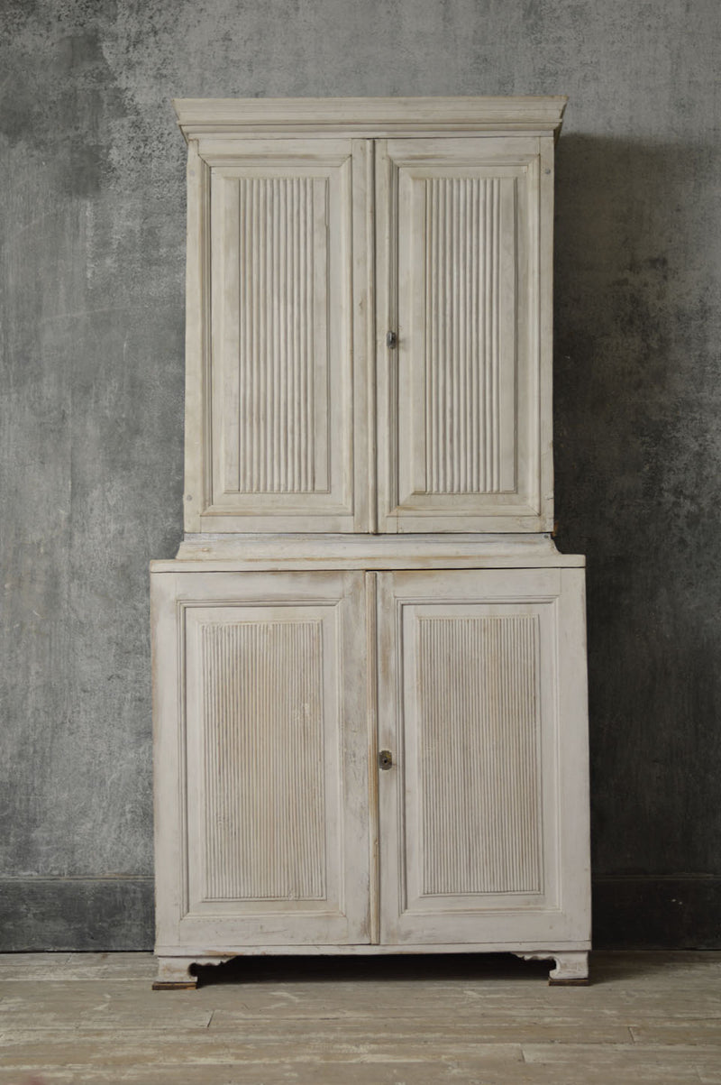 SWEDISH 19TH CENTURY TWO PIECE KITCHEN CUPBOARD
