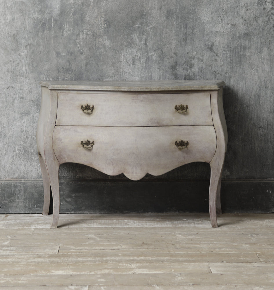 Dutch style painted bombe commode