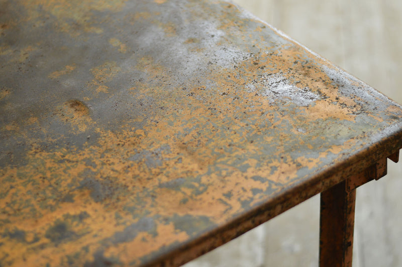 PAIR OF FRENCH METAL INDUSTRIAL TABLES