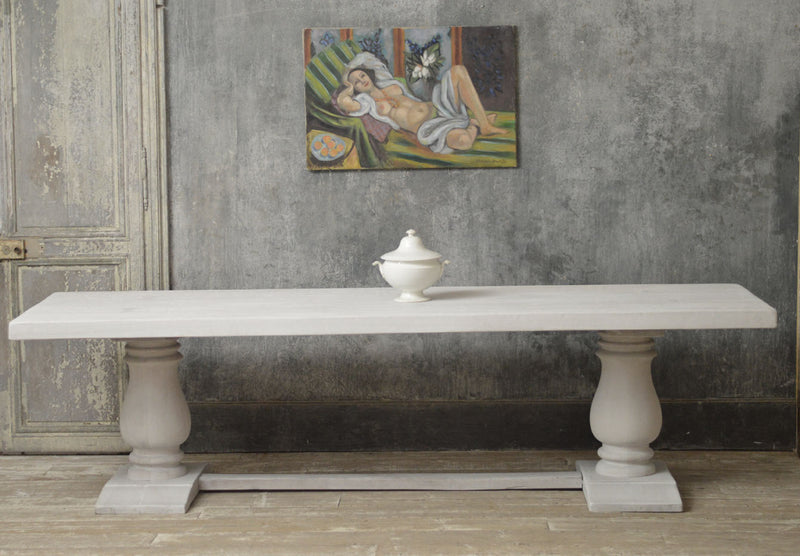 French 20th Century painted beech refectory dinning table.