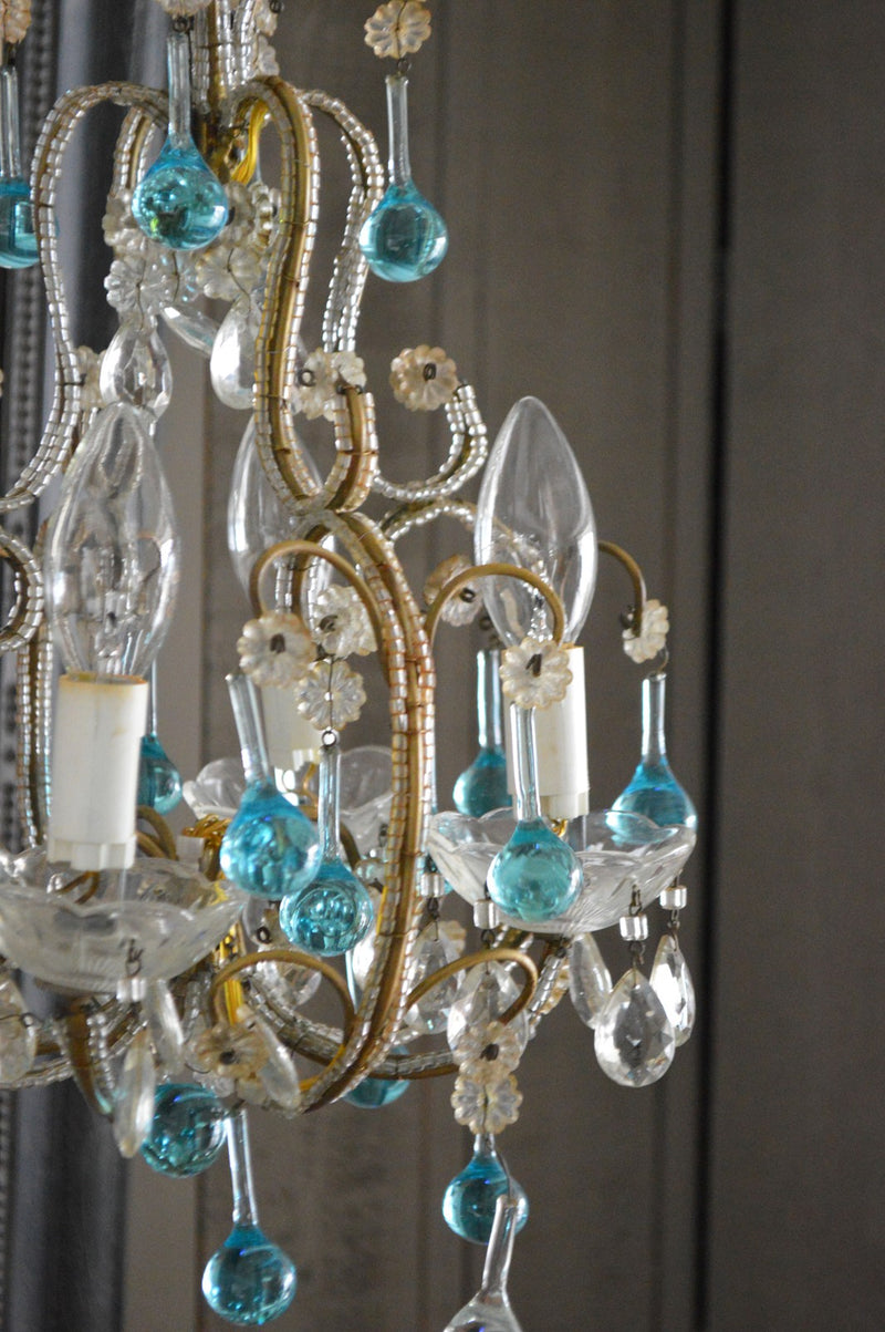 FRENCH FOUR BULB CHANDELIER 1950'S