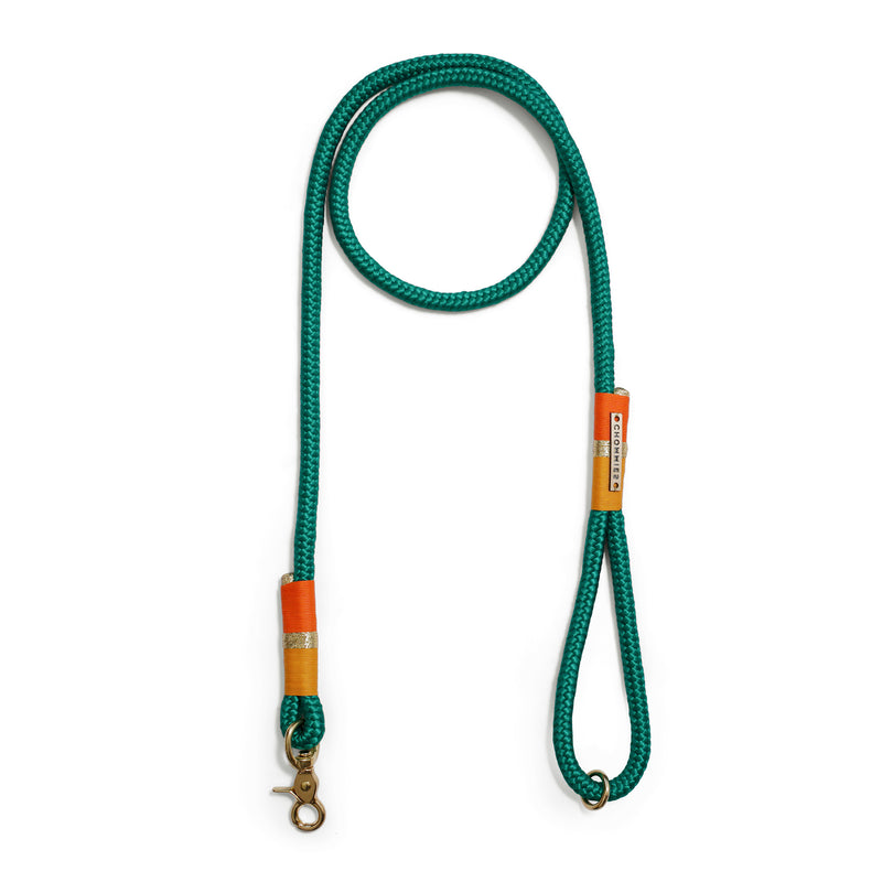 green: emerald green rope standard leash - springbok gold | gold | neon orange