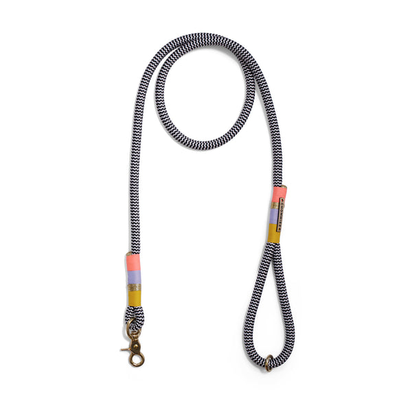 Namaqua: b&w rope standard leash - mustard yellow | gold | lilac | light coral