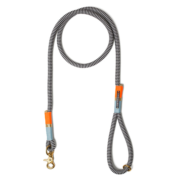 Earth & Sky: b&w rope standard leash - duck egg blue | gold | neon orange
