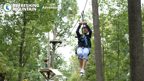 Image of Refreshing Mountain Retreat & Adventure Center: 2 Ziplines + 22 Obstacles Bundle