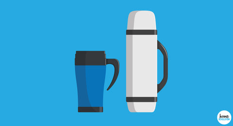 2 illustrated, reusable, travel coffee mugs stand next to each other