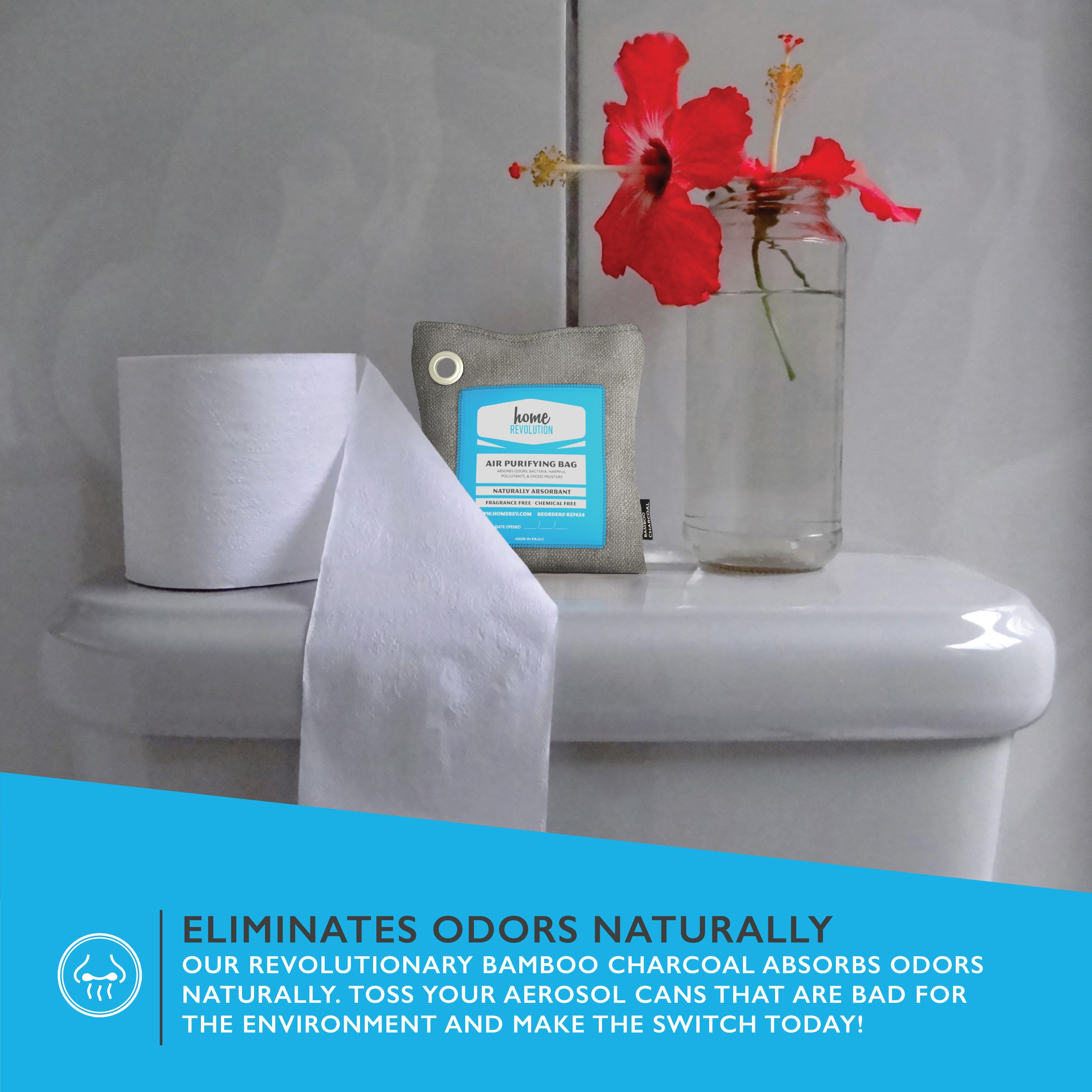 Air Purifying Bag Natural Odor Remover Made From Bamboo Charcoal - Bathroom odor remover