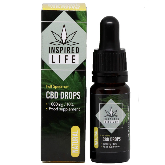 1000mg CBD Cannabis Oil Hemp Drops 10ml - Natural and Peppermint Flavours - Inspired Life CBD