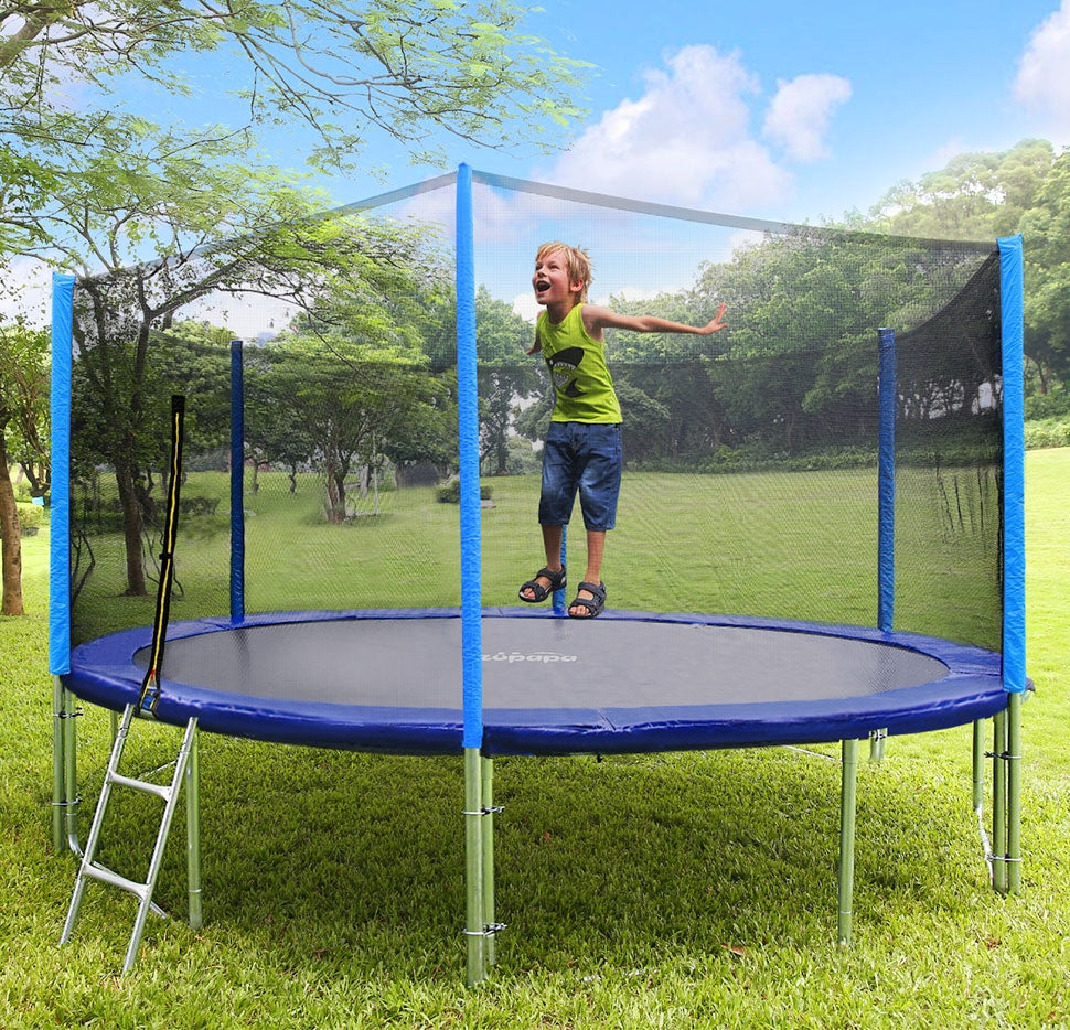 a kid is playing on zupapa trampoline