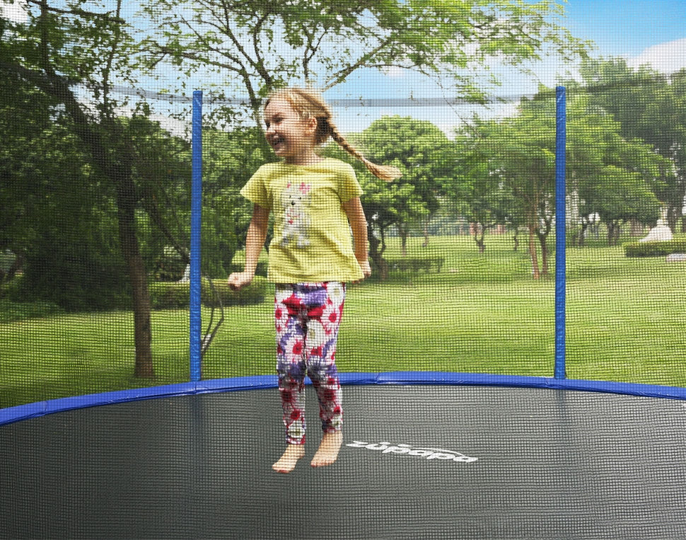 zupapa saffun 12ft trampoline in the backyard. Safe Fun in the Details.