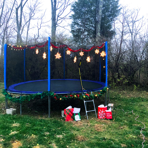 Zupapa 15 ft. Trampoline Decorated for Christmas with wreaths, garlands,stringed lights
