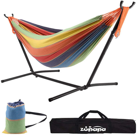 Double Hammock with Stand  (Rainbow Color)