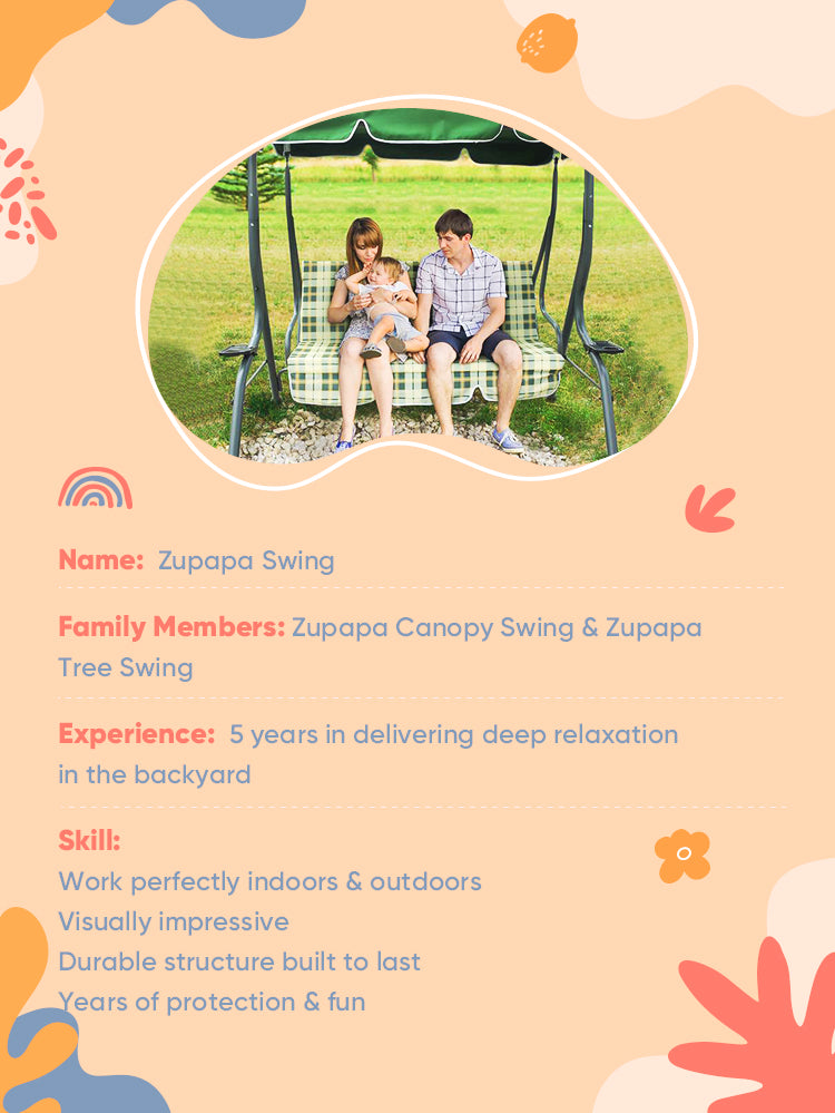 A family sitting on a Zupapa canopy swing