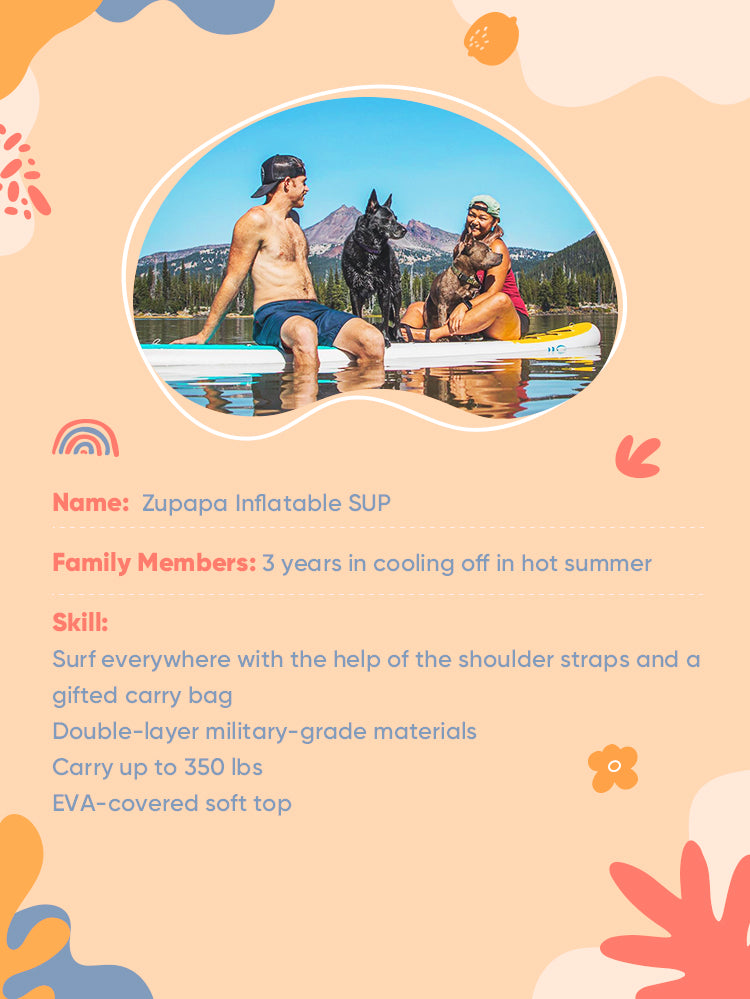 A couple with a black dog on a floating Zupapa inflatable SUP