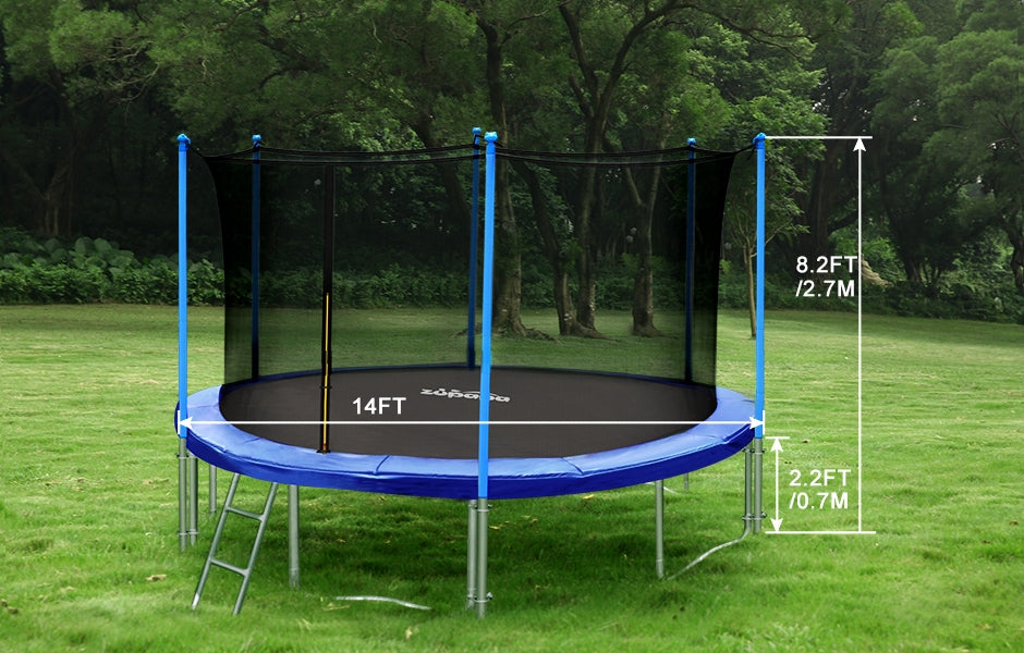 zupapa 14ft trampoline with inside-enclosure net
