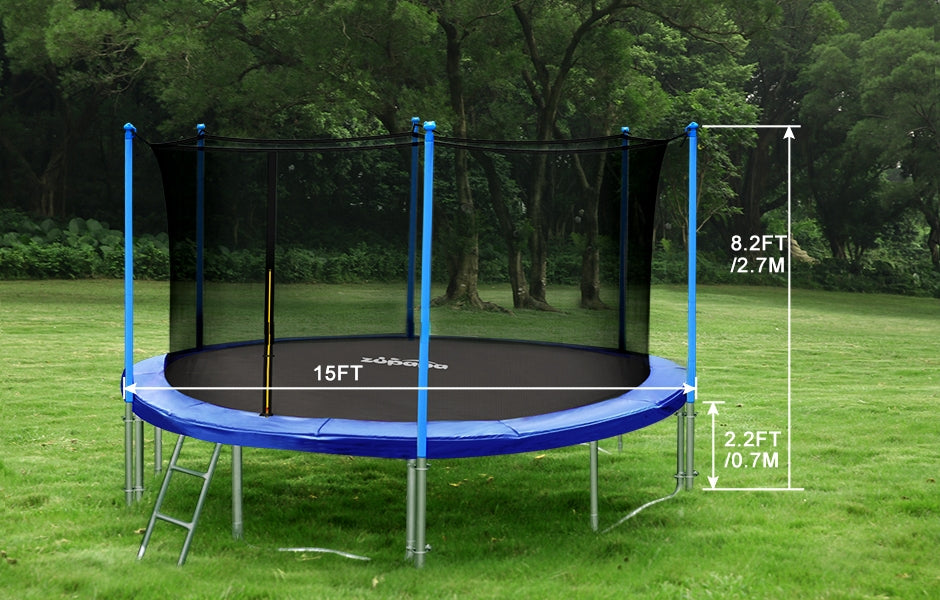 zupapa 15ft trampoline with inside-enclosure net diameter and height