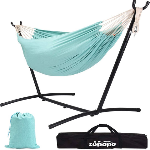 Zupapa 10FT Double Hammock with Stand 550lbs Capacity-Aqua