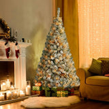 7' Pre-Lit Flocked Christmas Snow Tree with 350 Lights