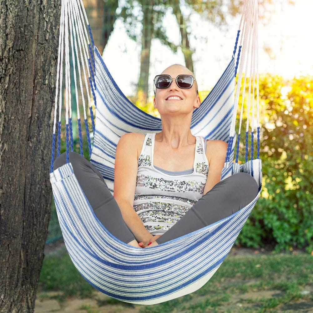 Zupapa 330lbs Capacity Hanging Hammock Chair With Large Bamboo Bar And