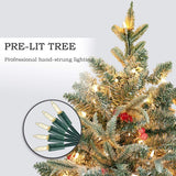 9' Flocked Artificial Christmas Tree with Berries 1000 LED Lights