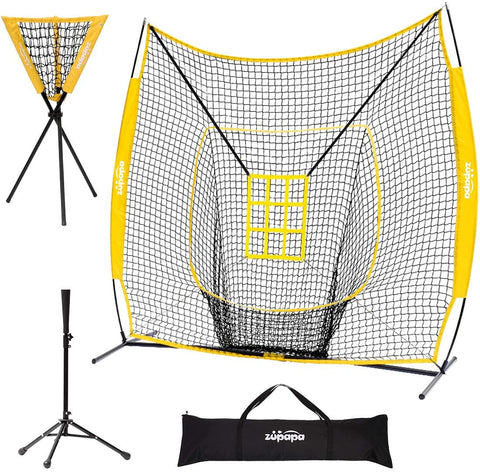 Zupapa 7' x 7' Baseball Practice Net  with Tee Caddy-Yellow