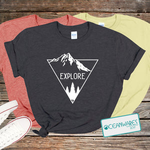 Explore, Mountain, Trees, Shirt