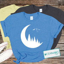 Load image into Gallery viewer, Nature Shirt, Moon, Trees, Silhouette