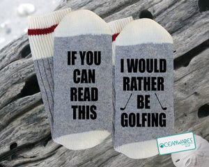 Rather be Golfing, Gift for golfer, SUPER SOFT Novelty Word Socks
