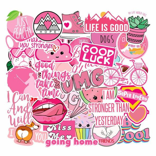 40Pcs PVC Waterproof Girls Kawaii Pink Computer Stickers for Suitcase Moto Car Refrigerator Decal Decoration Laptop Stickers