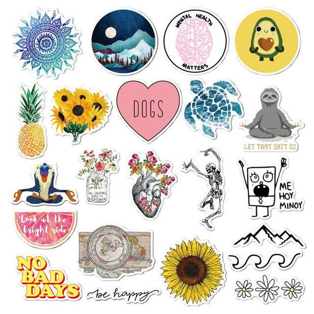 22PCS Cute Stickers Trendy Stickers Teens Girls Sticker To DIY Laptop Water Bottle Phone Suitecase Computer Skin Viny Decal